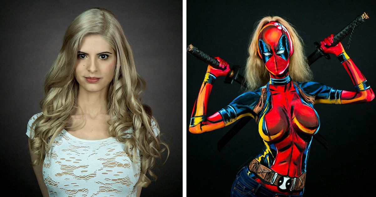 Nude females in superhero body paint