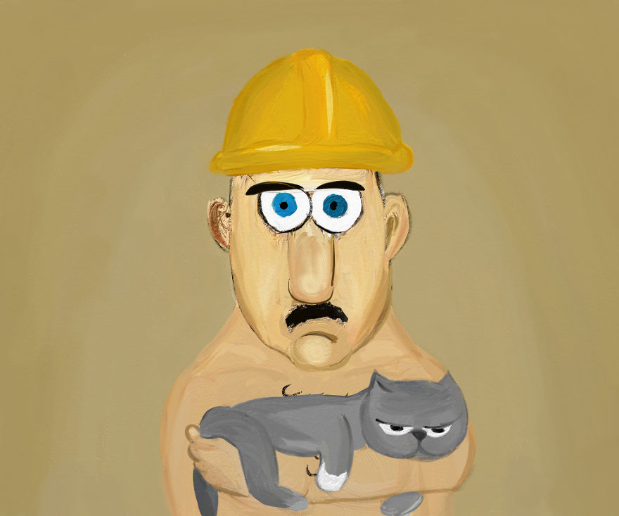 It's A Contruction Worker With His Cat Mittens