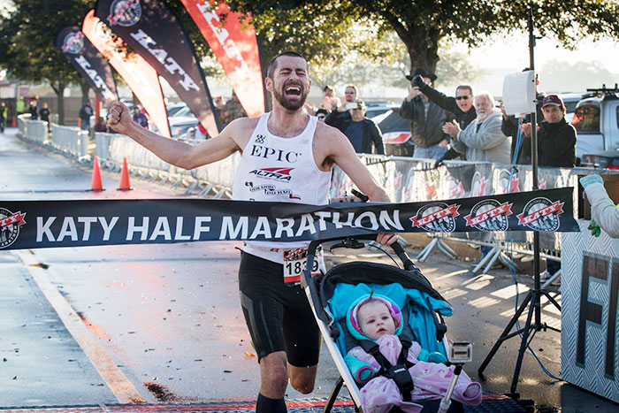 Dad Wins Half-Marathon While Pushing A Stroller With His Baby