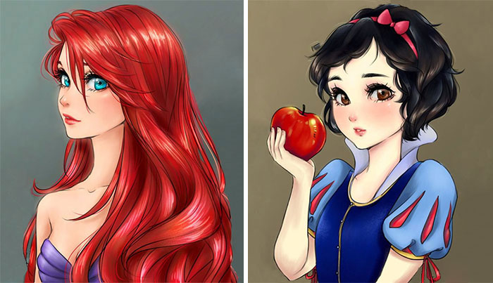 I Draw Disney Princesses As Anime Characters