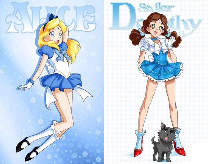 Artist Reimagined Disney Princesses As Sailor Scouts