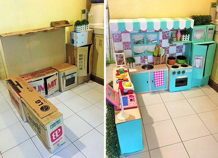 How To Create A Mini Cardboard Kitchen For Your Toddler ...