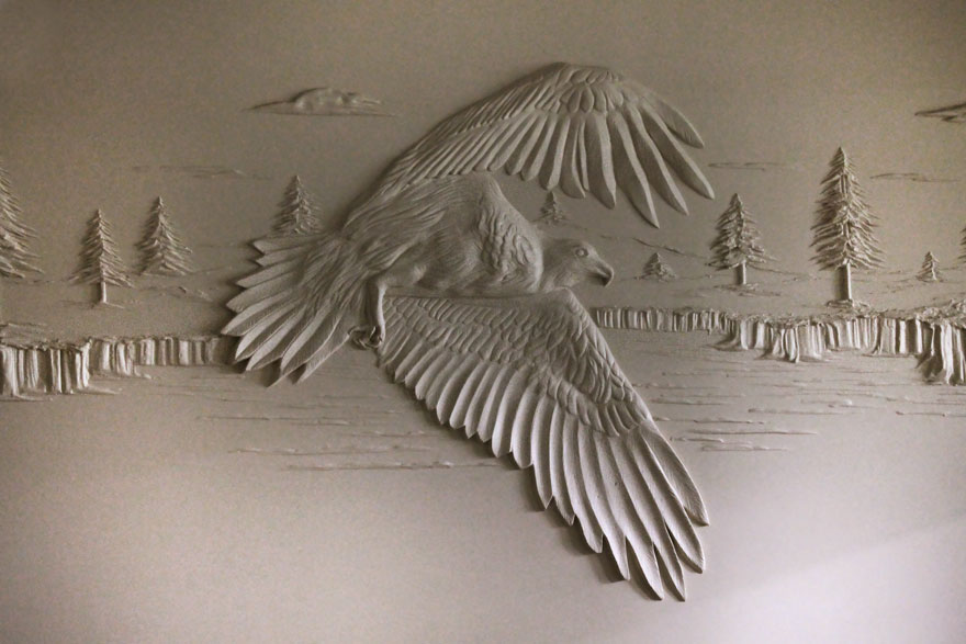 Drywall Worker Creates Stunning 3d Art Using Only Joint Compound Bored Panda