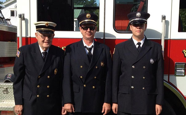 Three Generations Of Firefighters. My Grandfather (A Past Chief), Father (The Current Chief), And I At A Parade