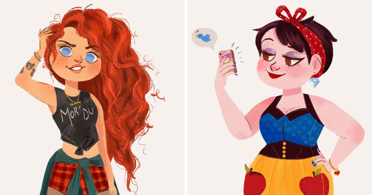 Illustrated disney princesses as modern day girls living in the 21st