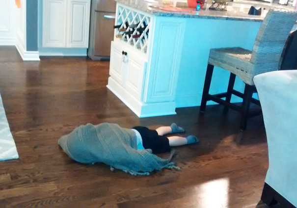 Babysat For Some Friends Last Night, This Is How Their 2yo Plays Hide & Seek