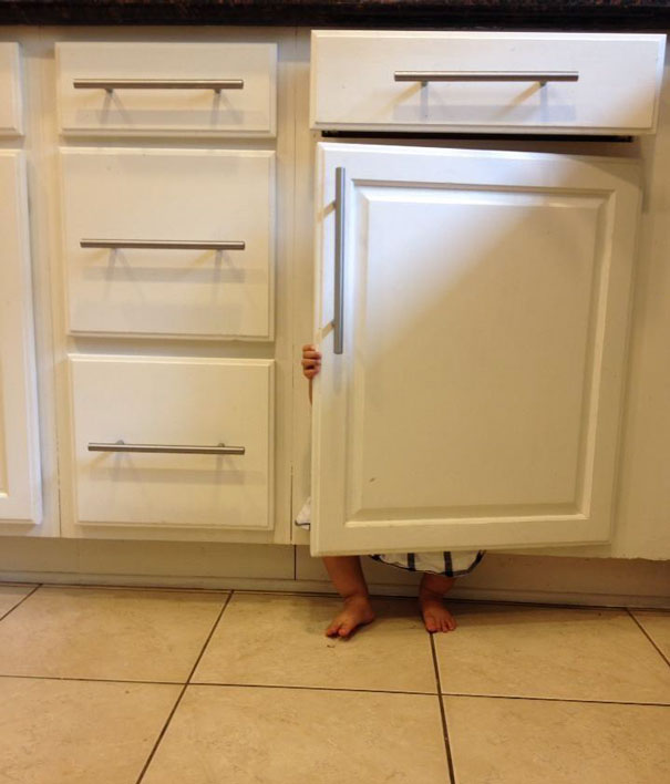 Toddler In A Perfect Hiding Place
