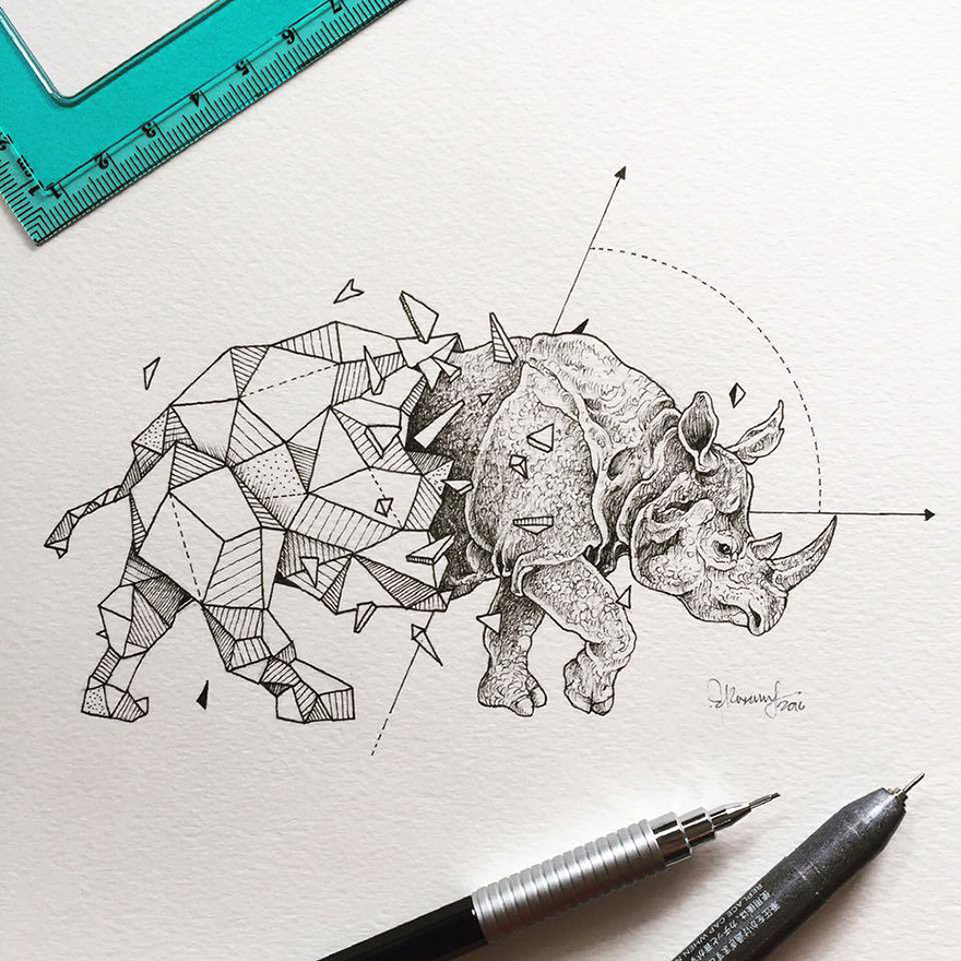 Intricate drawings of wild animals fused with geometric for Kerby rosanes