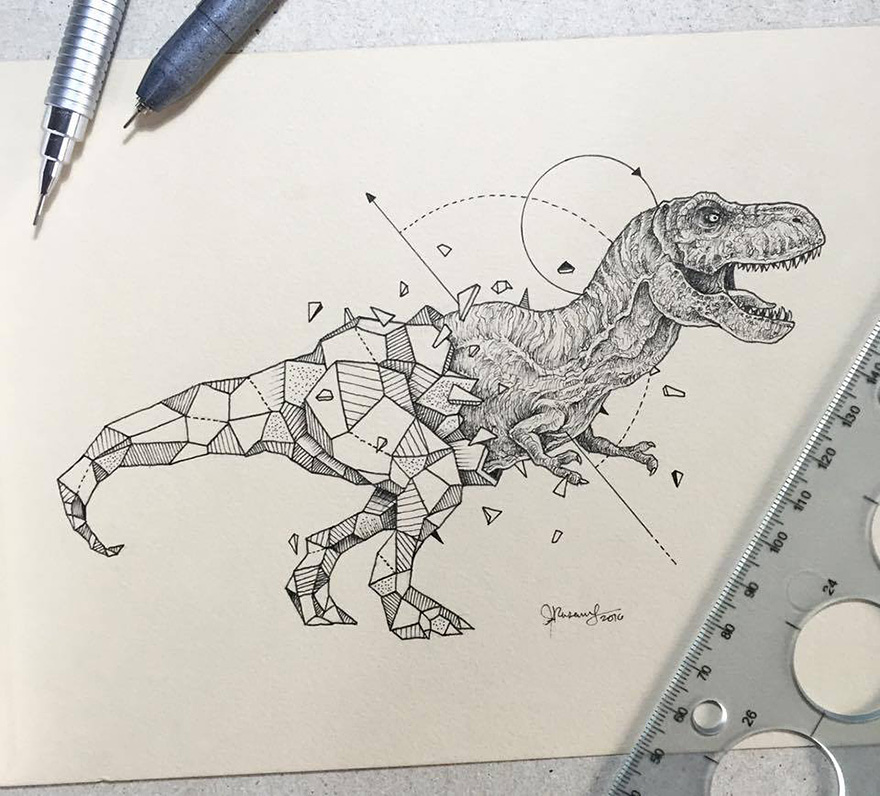 Drawing Lines In Crystal Reports : Intricate drawings of wild animals fused with geometric