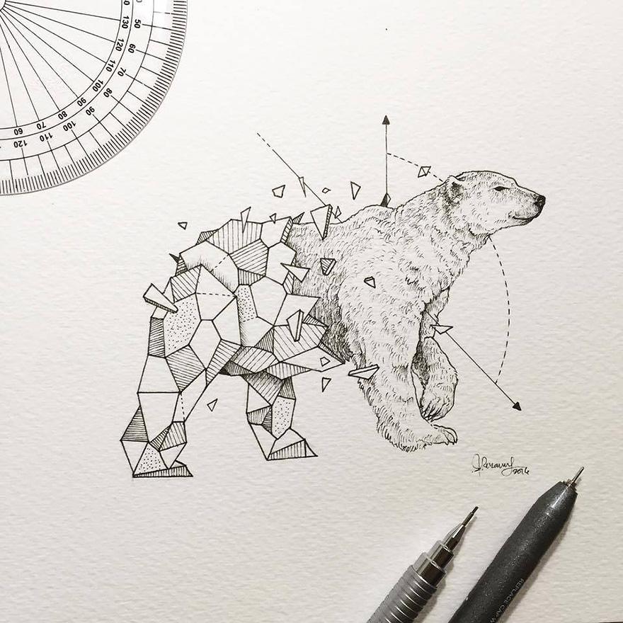 Geometric Line Art Animals : Intricate drawings of wild animals fused with geometric