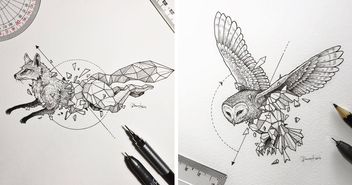 intricate drawings of wild animals fused with geometric shapes