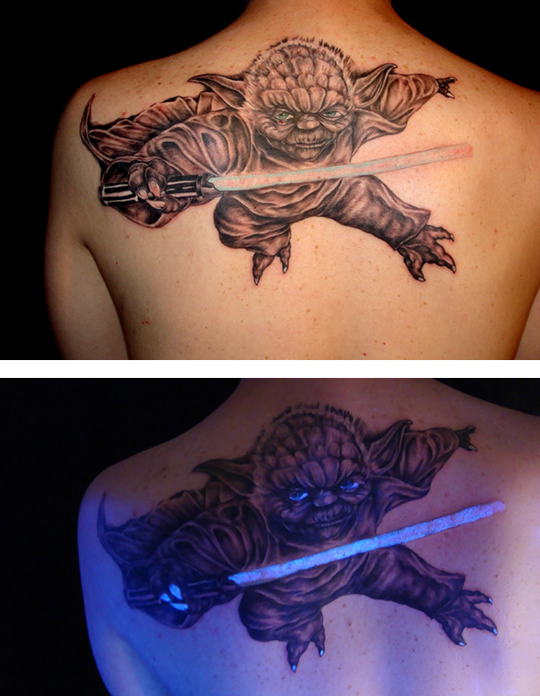 Glow In The Dark Yoda Tattoo