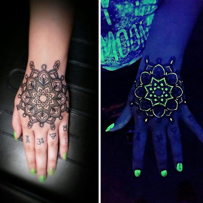 Ultraviolet Mandala Tattoo