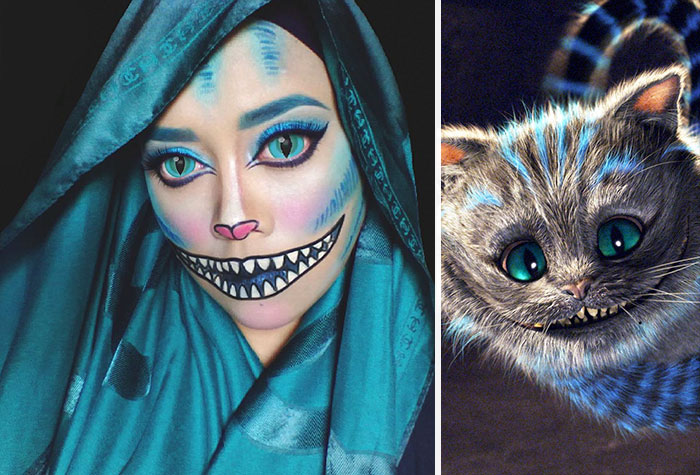 Hijab Disney Woman Uses Her Hijab To Turn Herself Into Disney - Cheshire-cat-makeup-tutorial-you