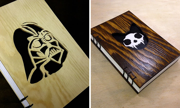 I Cut Images Into Wood To Create Unique Notebook Covers