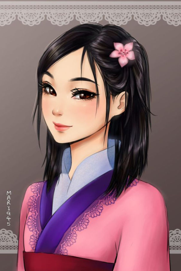 I Draw Disney Princesses As Anime Characters Bored Panda
