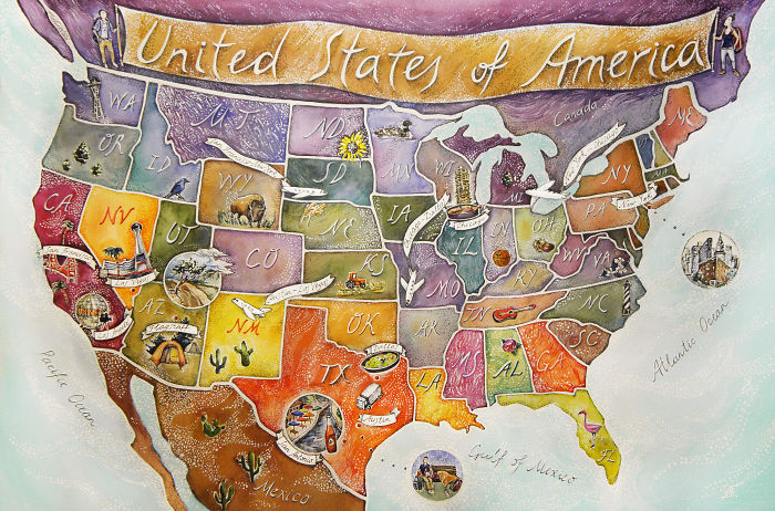 I Drew An Illustrated Map Of Usa Based On Couple's Adventures