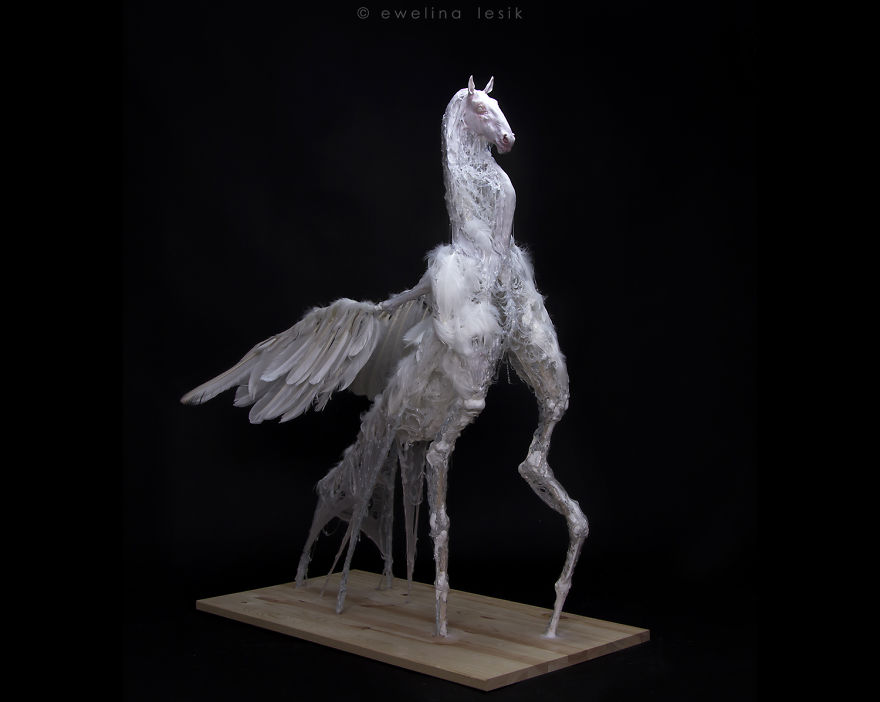 I Made A 'Pegasus' Sculpture From Swan's Feathers