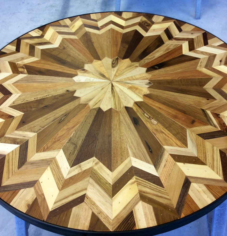 I Made Quilt Inspired Tables Out Of Salvaged Wood I Found