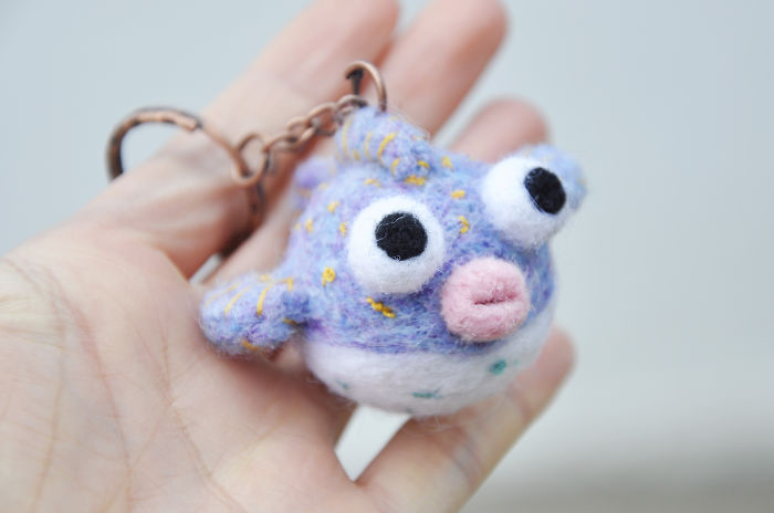 I Made This Felted Pufferfish Keychain