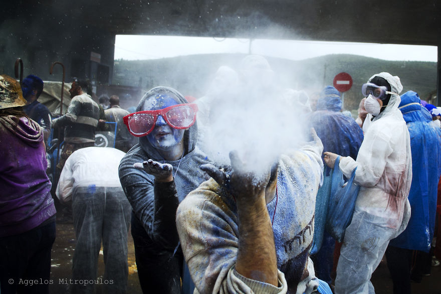 I Participated In A Colored Flour War In Galaxidi, Greece