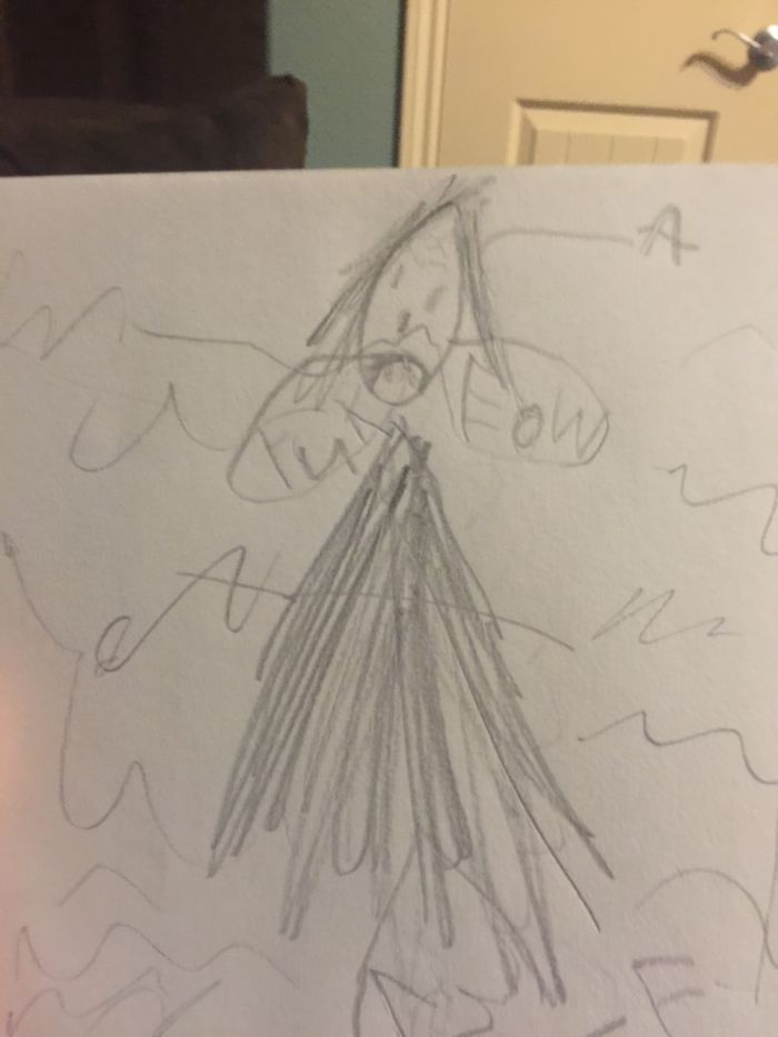 """My Daughter Drew This Picture Of Me Smelling Her Feet Saying """"yuck Pee-ew"""" Lol."""