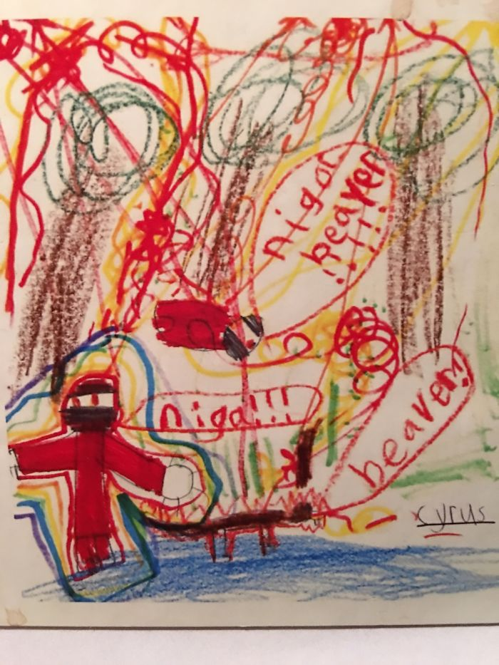 My Son's 1st Grade Drawing Of A Ninja Fighting A Beaver! He Has Since Learned To Spell Ninja!
