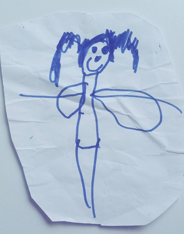 My Son Drew His Sister. Those Are Fairy Wings Of Course