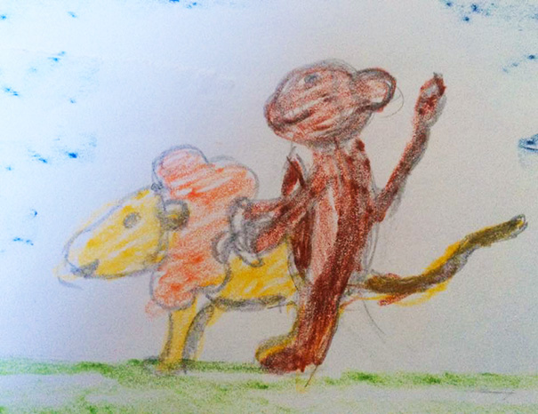 This Was My Daughters Artwork About A Monkey And A Lion