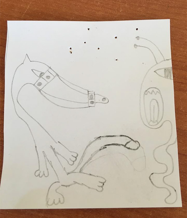 This Is My Daughter Billie's Drawing Of A Fox Running Away From An Alien