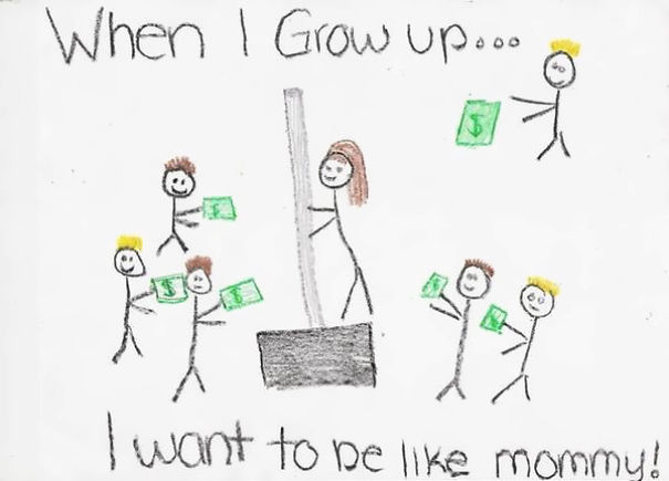 1 little girl drew a picture of her mom at work the mother is actually selling a snow shovel at home depot
