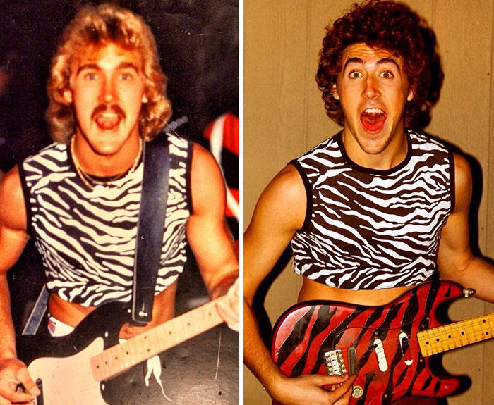 Thirty Years Apart. My Dad Age 21, Me Age 22. Same Shirt, Same Guitar
