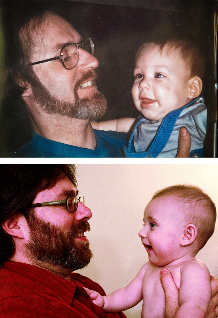 Dad And 7 Months Old Me, Me And My 7 Months Old Son. I Wish Dad Could Have Lived To Meet My Boy