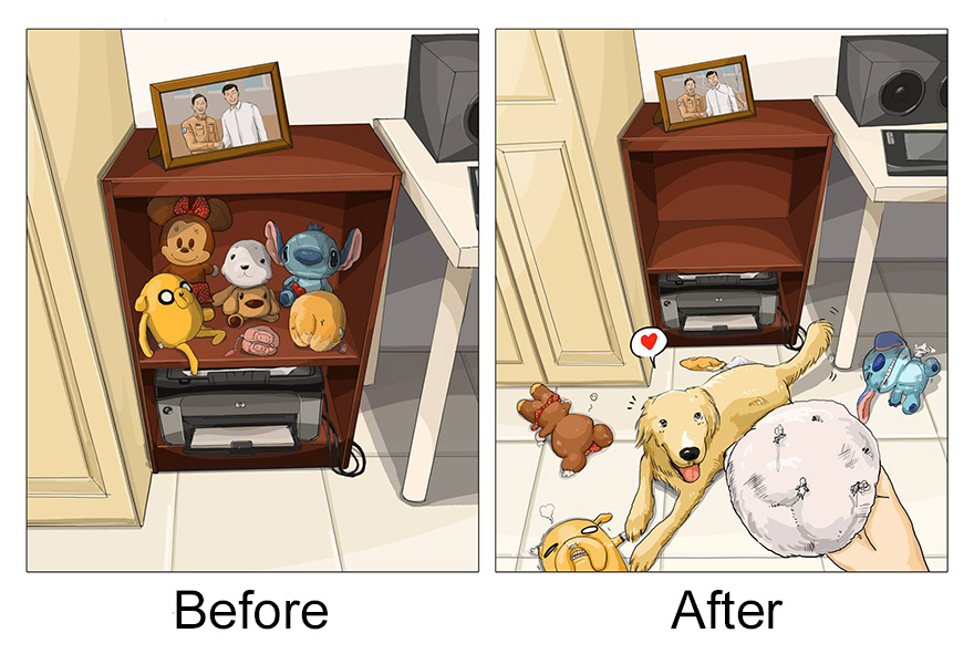 9 Pictures About The Life Before & After Getting A Golden Retriever!