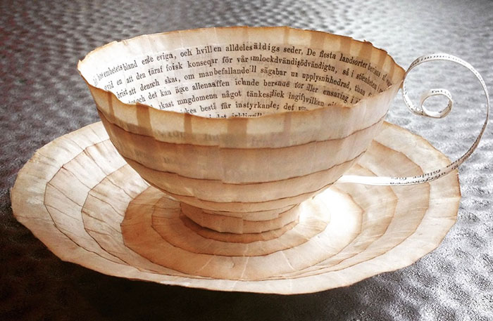 Old Books Repurposed Into Paper Cups And Saucers By Cecilia Levy