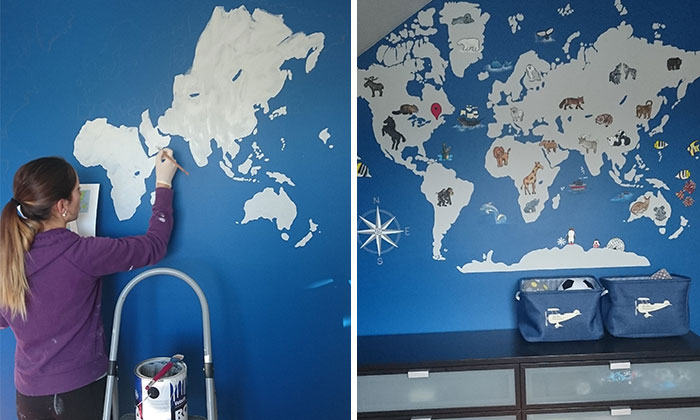 I Painted A World Map Full Of Animals In My Little Nephew's Room