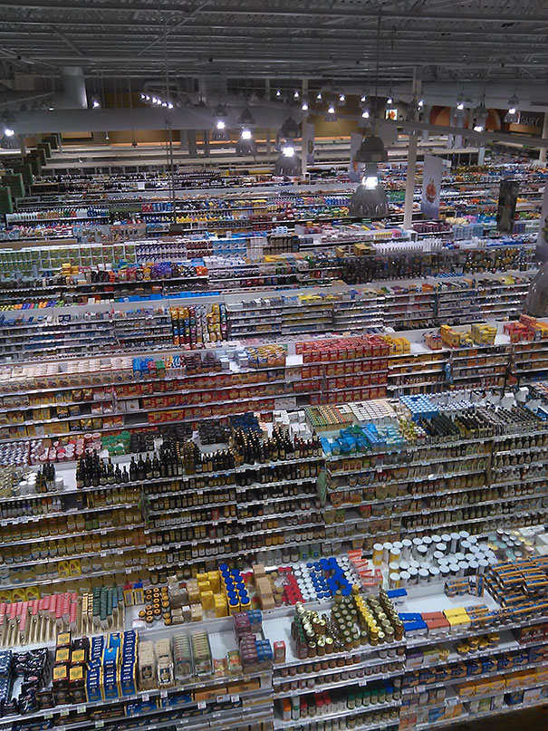 A Grocery Store As Seen From The Rafters