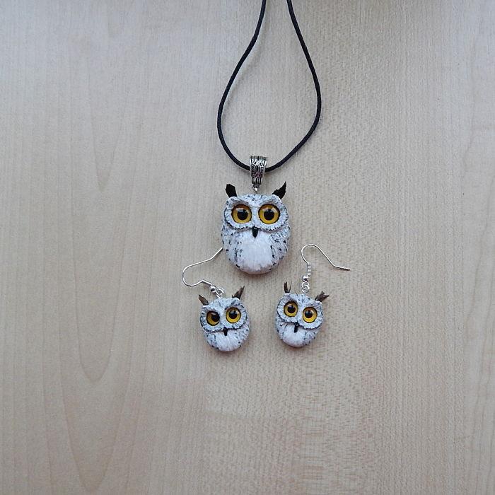 Set Of Pendant And Earrings Eagle Owls