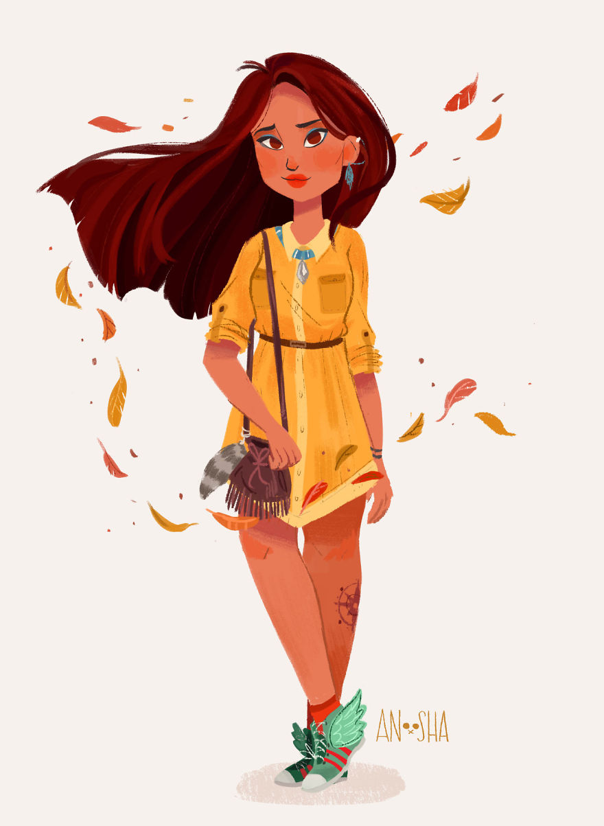 i illustrated disney princesses as modern day girls living