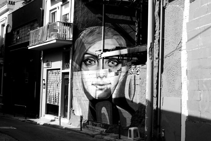 Street Art In Athens In Black And White
