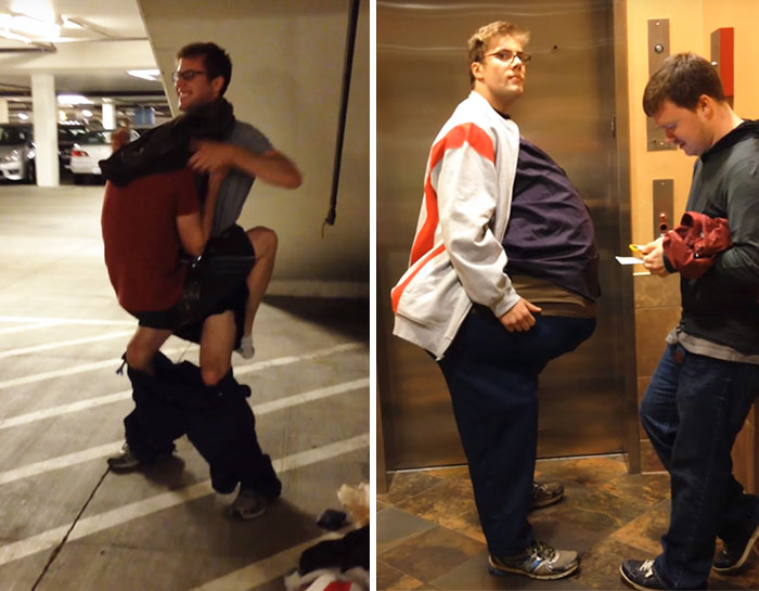 Best Friends Sneak Into A Movie Dressed As One Person (Video)