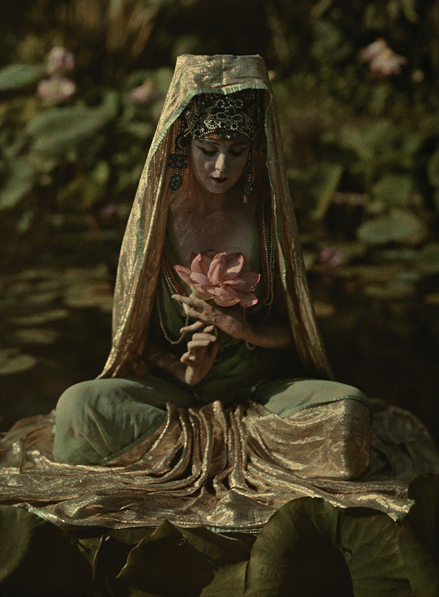 Woman Adorned Like A Chinese Goddess Poses In A Garden In California, 1915