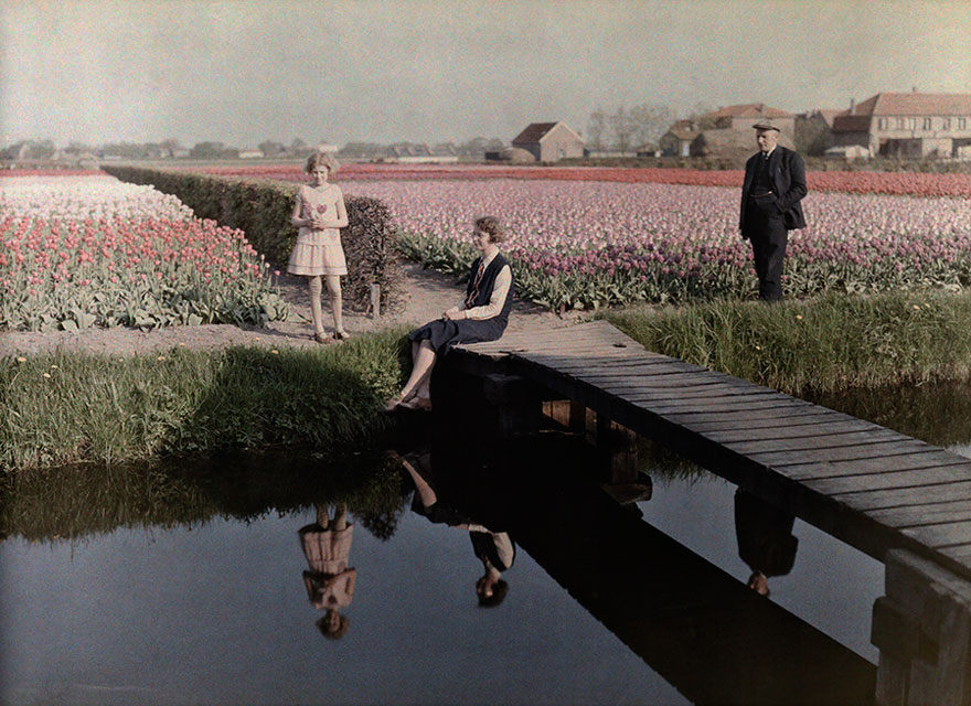 Locals Relax By The Tulip Fields Along The Canal In Haarlem, The Netherlands, 1931