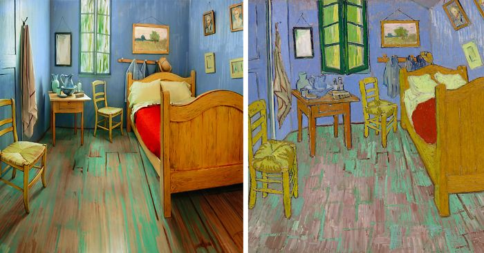 artists recreate van gogh s iconic bedroom and put it for rent on rh boredpanda com van gogh bedroom 3d van gogh bedroom in arles
