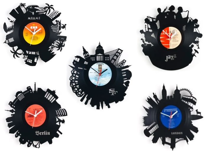 Vinyl Wall Clocks Lasered Upcycled Record Discs With Motives And Silhouettes Of Cities & Bands