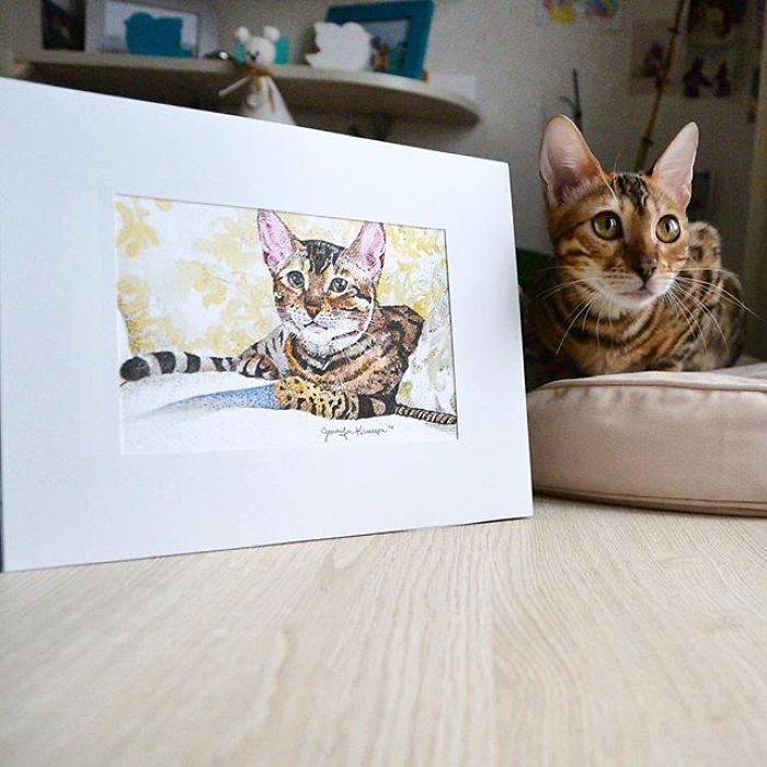 15 Painting Photo Portraits Of Bengal Cat Simba Sent For Free