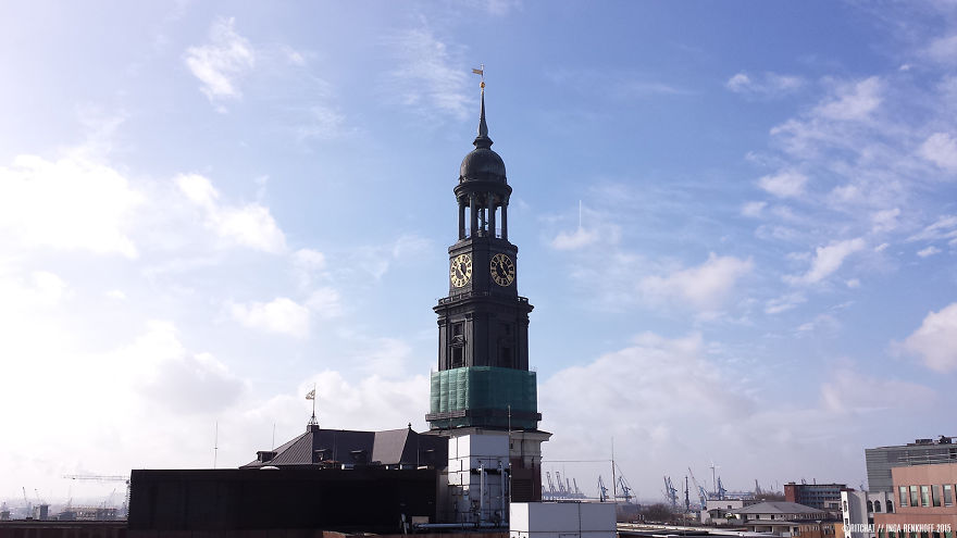 My View At The Office: St. Michaelis (hamburg, Germany) With Lots Of Different Beautiful Skies.