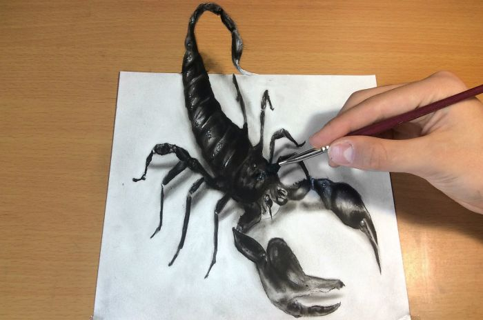 3d Scorpion Drawing/amazing Realistic Illusion! How To Draw 3d