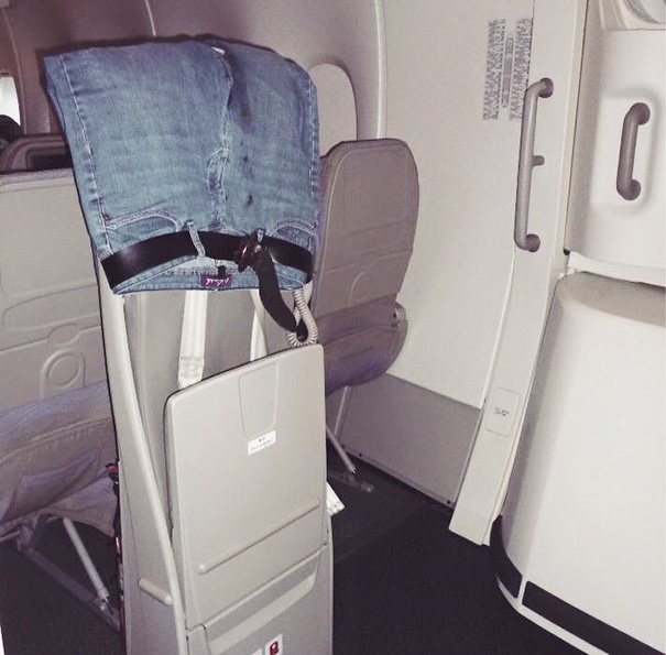 Let's Dry Those Pants Right Here, On Flight Attendant's Jump Seat