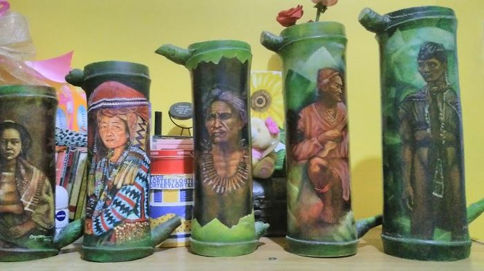 Artist Paints On Bamboo Stems He Collects In His Backyard